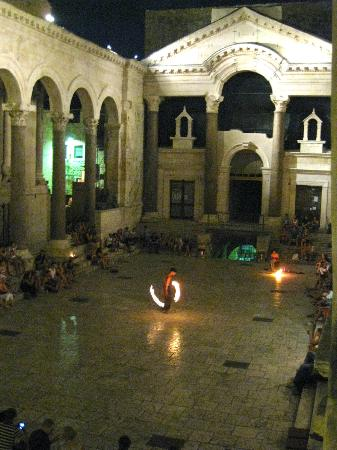 Grisogono Palace Luxury Apartments: Nightly music, fire shows and more. View from our window.