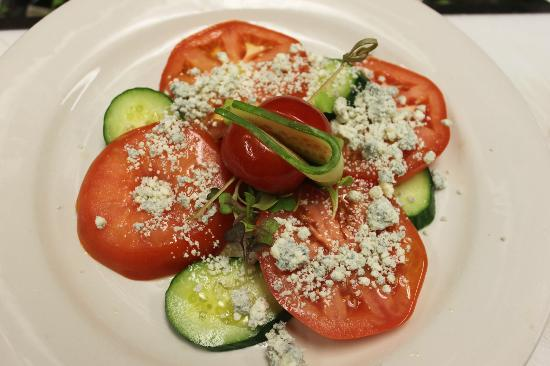 Fude Inspired Cuisine & Wine Bar: Hothouse Tomato, Cucumber, and Danish Blue Cheese Salad