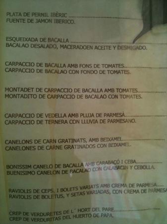 Casa Lola: Page from menu