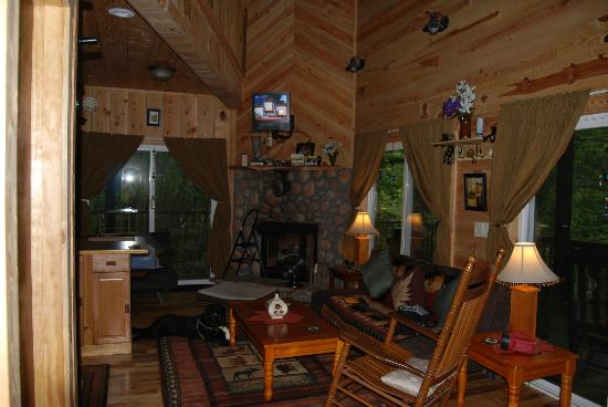 Bear Creek Lodge and Cabins: living room with fireplace