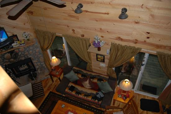 Bear Creek Lodge and Cabins: view from upstairs looking down