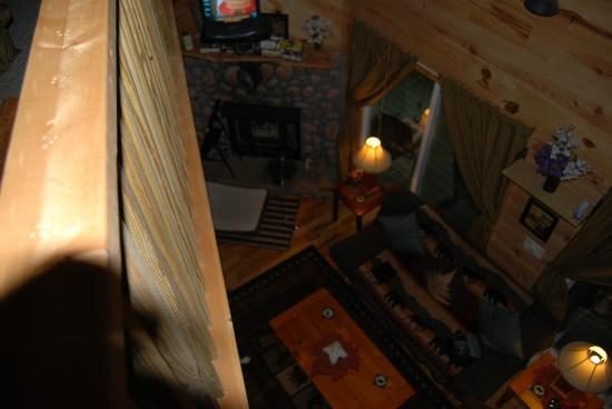 Bear Creek Lodge and Cabins: view from upstairs to the living room