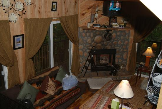 Bear Creek Lodge and Cabins: another view of livingroom fireplace