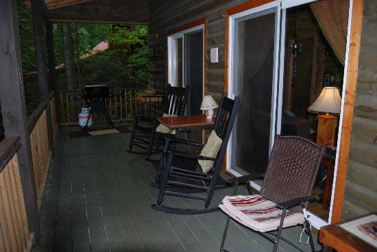 Bear Creek Lodge and Cabins: front porch of Treehouse Cabin