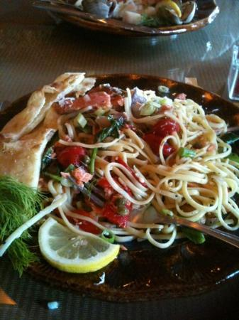 LD's Woodfired Grill: fantastic smoked salmon liguine with fire roasted veggies and capers and wine and yum yum