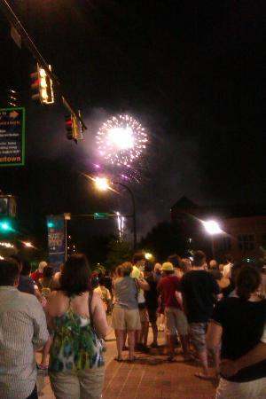 Hampton Inn & Suites Greenville - Downtown - Riverplace: Fireworks in downtown Greenville, SC