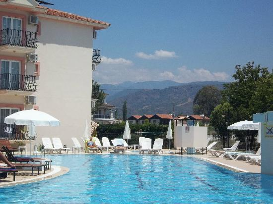 Hotel Pelin: View form pool to mountains