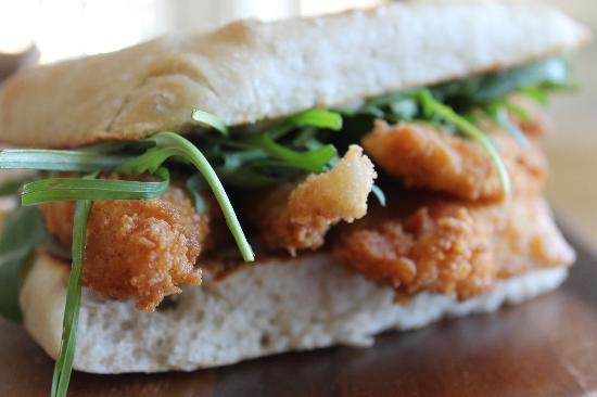 Rockpool Cafe: Fish finger sandwich with rocket and lemon mayo