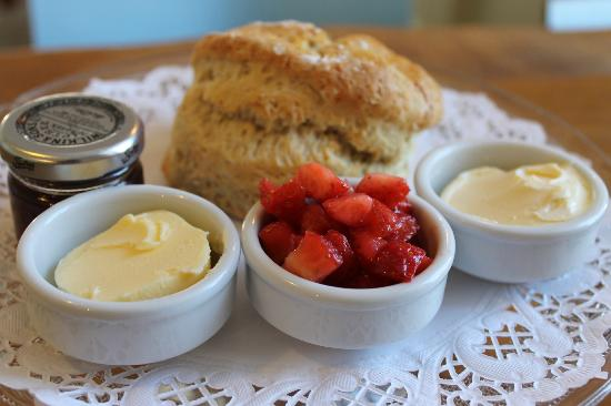 Rockpool Cafe: scone with jam cream and fresh strawberries