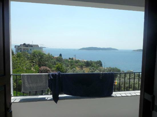 Villa Apollon Skiathos: View from the room, Sorry about the towel