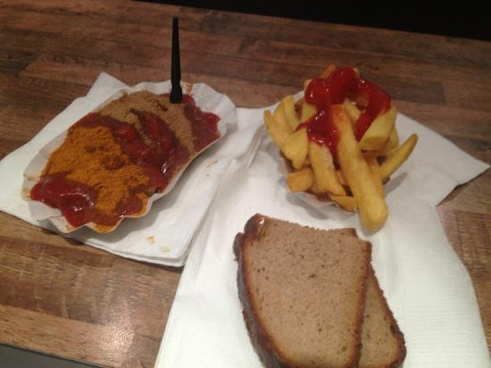 """Best Worscht in Town: Sausage, bread and fries combo. """"C"""""""