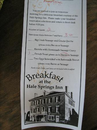 Hale Springs Inn: Breakfast choices