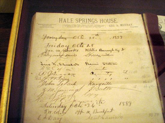 Hale Springs Inn: Hotel register from 1889 on display