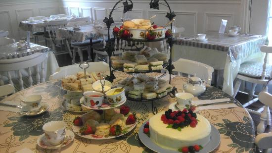 White Lions Tea House: full afternoon tea service