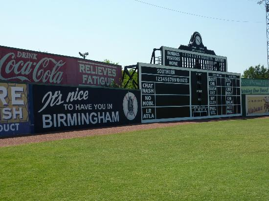 Rickwood Field Park: Scoreboard and vintage signs