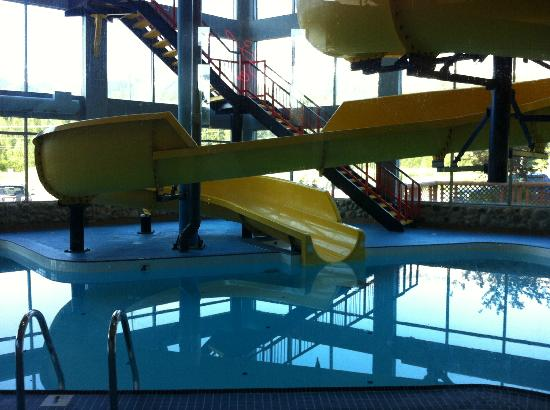 Fernie Stanford Waterslide Resort: pool and water slide from inside lobby