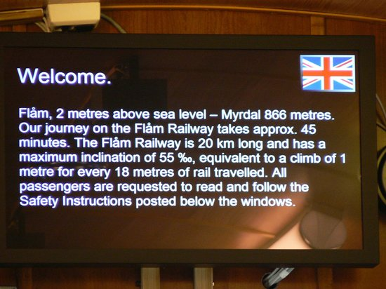 The Flam Railway : There is a message board on each car of the Flåm Railway.