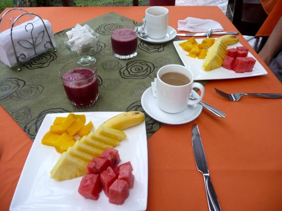Casa Batsu: Course #1 at breakfast - delicious fresh fruit & juice