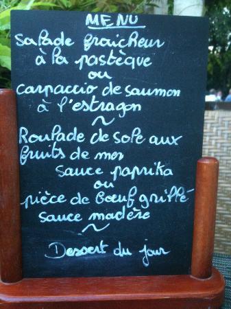 Logis Le Mas de Couran : Un exemple de menu