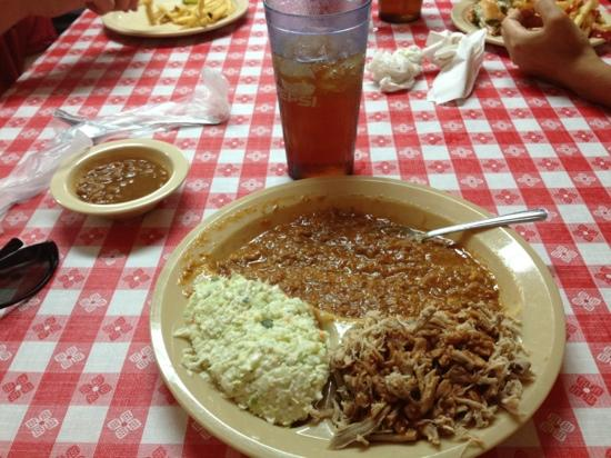 Gumlog Barbecue: BBQ, Brunswick Stew, baked beans and cole slaw.