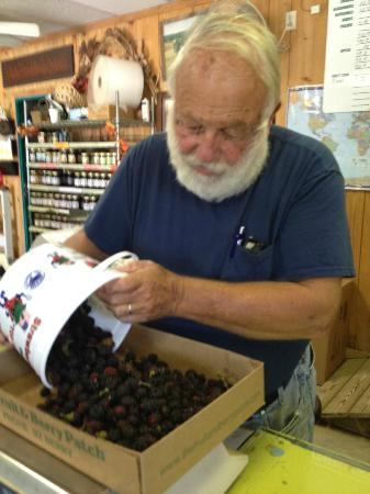 The Fruit and Berry Patch: Owner Dennis Fox weighs our berries!