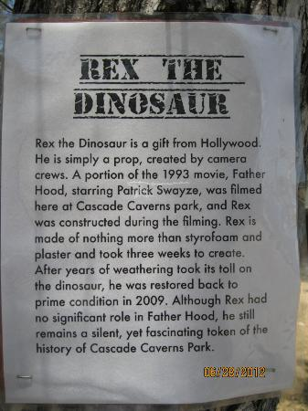 Cascade Caverns: Information on the dinosaur outside the cave.