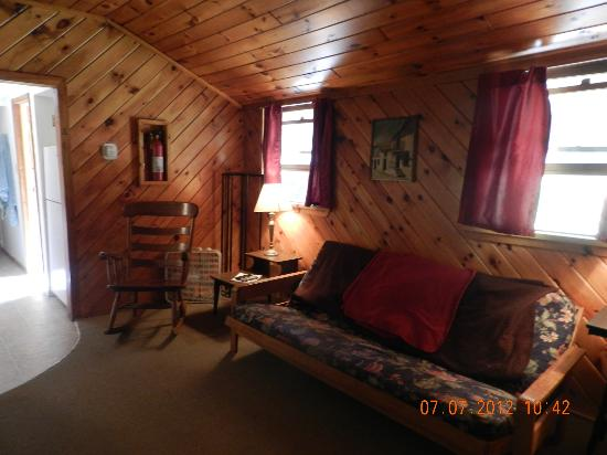 Cold Spring Lodge: Sitting area inside of cabin