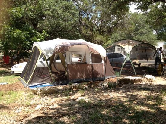 Canyon Lake, TX: campsite: we were able to move the table and fire ring to get our 3 room tent and screen tent on