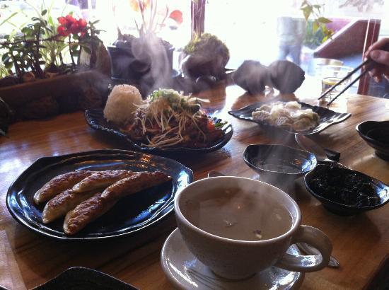 Sanwiye: A feast - ginger tea, fried dumplings, steamed dumplings, beef and vegie bulgogi, and crispy sea