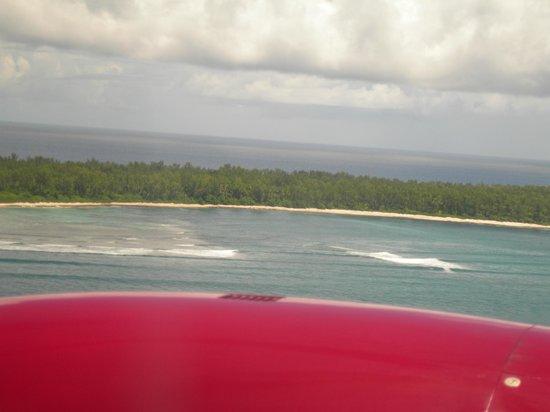 Desroches Island: vista dell'isola dall'aereo