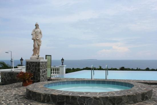The Peacock Garden: Hot tub, statue and infinity pool at the Peackock Garden