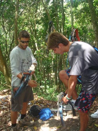 Floriham TreeTop Adventures: tour guide explaining equipment use