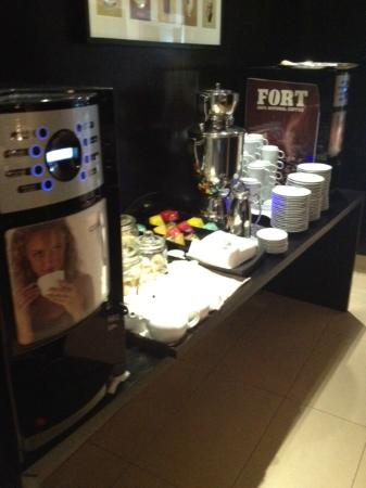 NH Bucharest: The coffee machine with lots of coffee cakes and biscuits