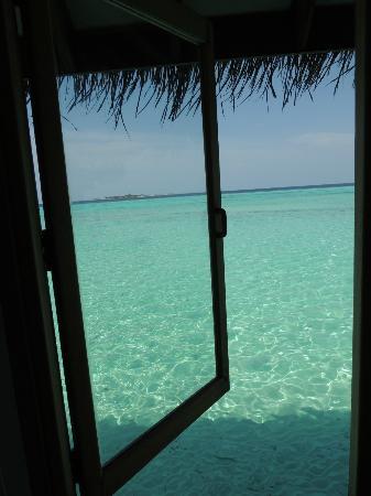 Maafushivaru: vue sur la mer depuis le piloti