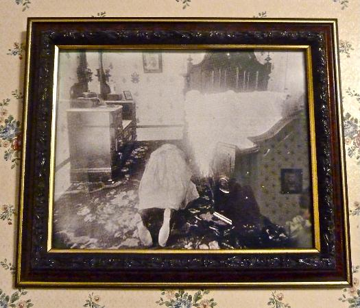 Lizzie Borden House: Crime scene photo of step-mother's body beside bed