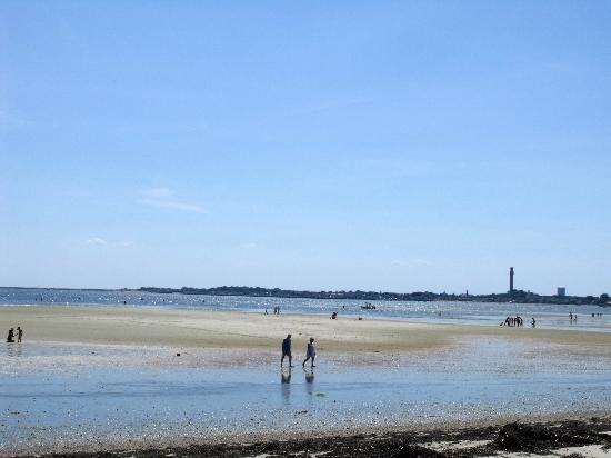 view from the Kalmar Village beach towards Provincetown