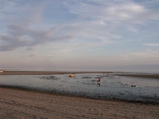 view from Kalmar Village beach at sunset and low tide