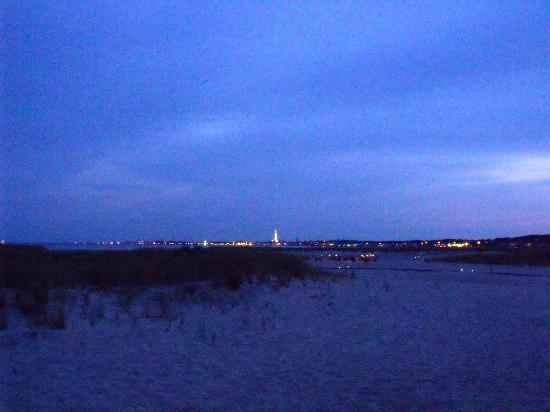 Kalmar Village: view from cottage at night (lights of Provincetown)