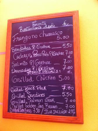 Apolo: carte du restaurant