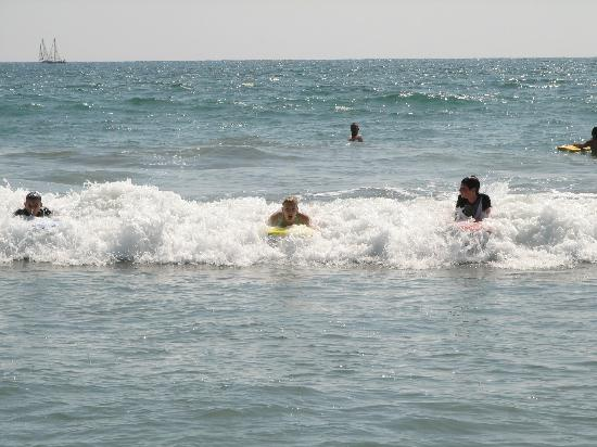 North Coast Village: Boogie boarding.