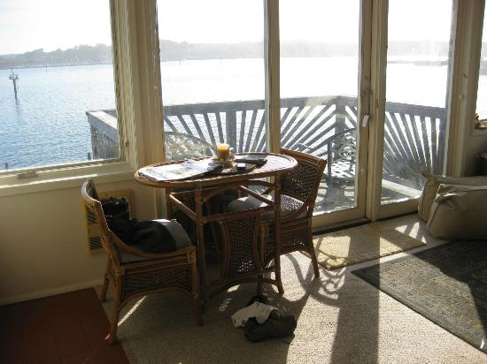 At the Bay's Edge : Kitchen overlooking the deck