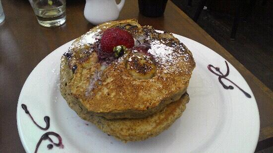 Naked Cafe: whole grain banana blackberry pancakes