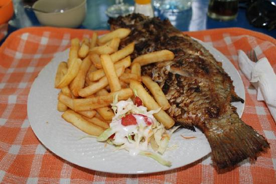 Akosombo, Ghana: Whole Grilled Tilapia with Fries