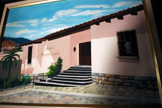 Painting depicting the front entrance of Hotel Marina Copan