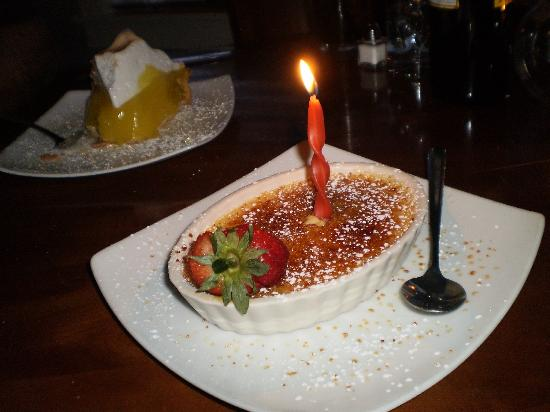 Sea Rose Suites: Birthday Creme Brule at the Front Porch Restaurant