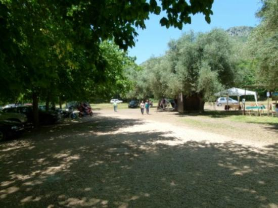 Giardino di Ninfa - Monumento Naturale: View from entrance: parking, ticket booth on the right