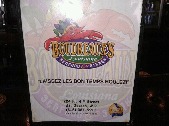 Boudreaux's Louisiana Seafood: Cover of menu.