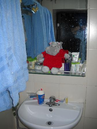 Red Lantern House: Sink at the bathroom. They did give us adequate towels 