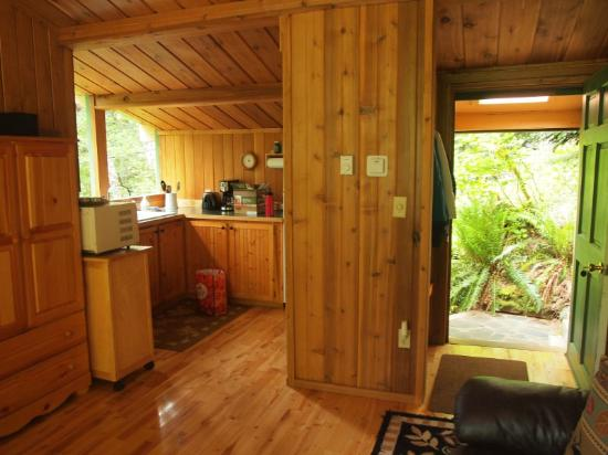 Deep Forest Cabins at Mt. Rainier : Maple Wild: looking from living area to kitchen/entrance (very open roomy design)