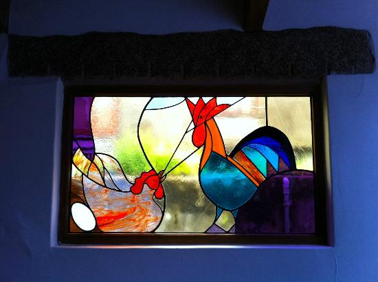 Stain glass at Roskilly's.